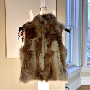 NWOT Fox Fur ADRIENNE LANDAU Textured Vest